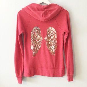Victoria's Secret Zip Hoodie With Sequin Wings